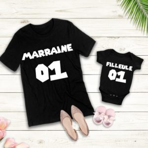 tshirt duo marraine et filleul/filleule avec numero aux choix