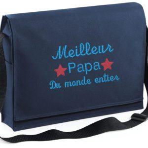 besace bleue marine personnalisée meilleur papa du monde entier